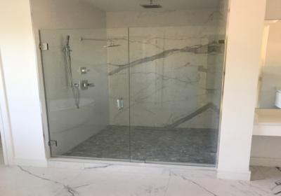 Master Bath using White Quartz on Vanity and Shower Wall