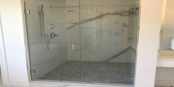 White Quartz on Vanity and Shower Wall