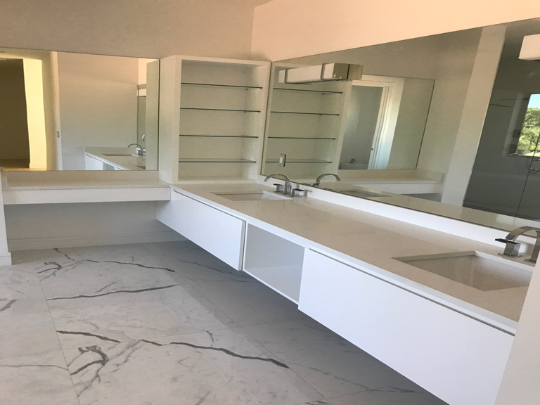 White Quartz On Vanity And Shower Wall Stone Design By
