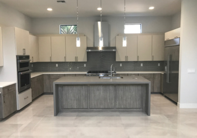 Modern Kitchen Countertop Gray and White Quartz in Boca Raton