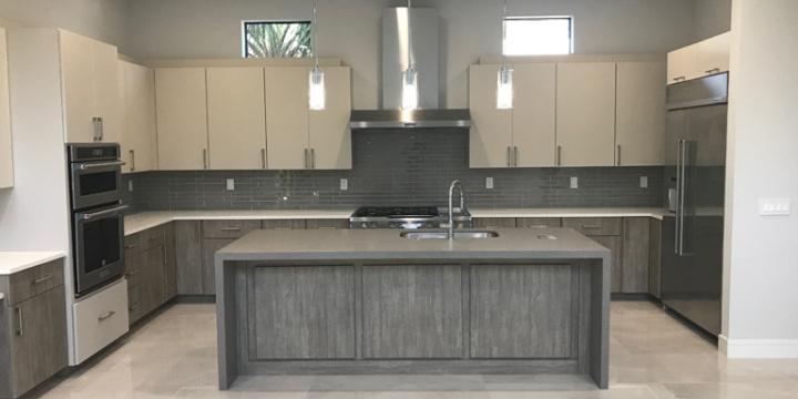 Modern Kitchen Countertop Gray and White Quartz in Boca Raton