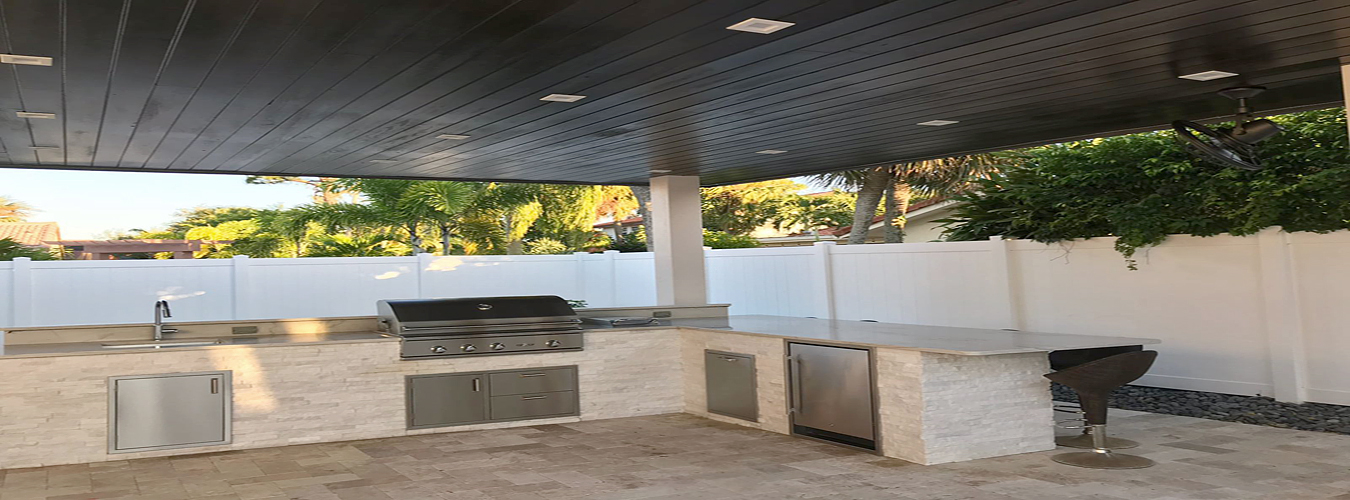 stone design barbecue outdoor area